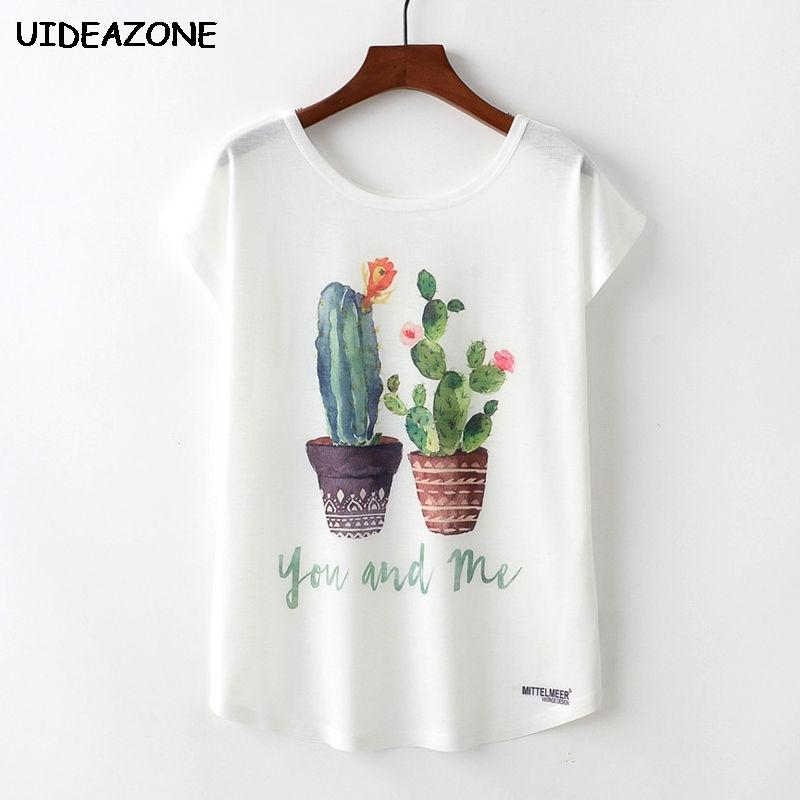 ecbe28d1071085 Cactus Printed Women Tshirts Cute Animal Unicorn Summer T Shirts Watermelon  Tee Tops Floral Cool T Shirt Femme Women Shirts With Design Unique T Shirts  For ...