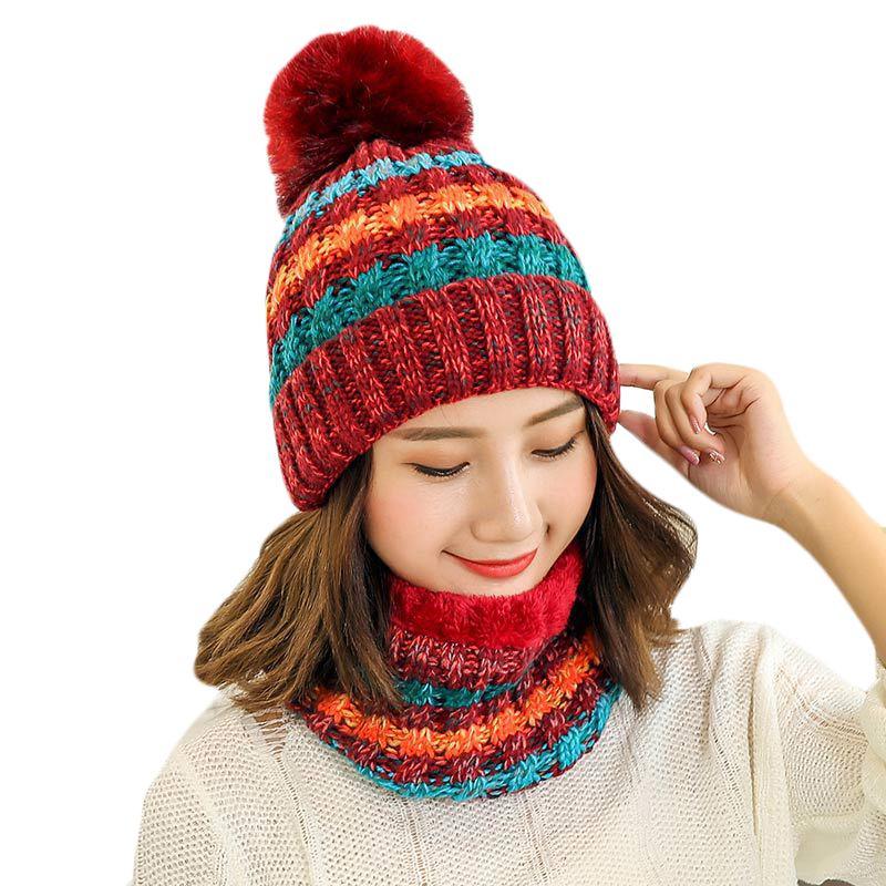 Compre Nueva Moda De Invierno Conjuntos De Bufanda De Sombrero Para Mujeres  Niñas Gorros Calientes Anillo Bufanda Pompom Sombreros De Invierno De Punto  ... 8defaf86f75