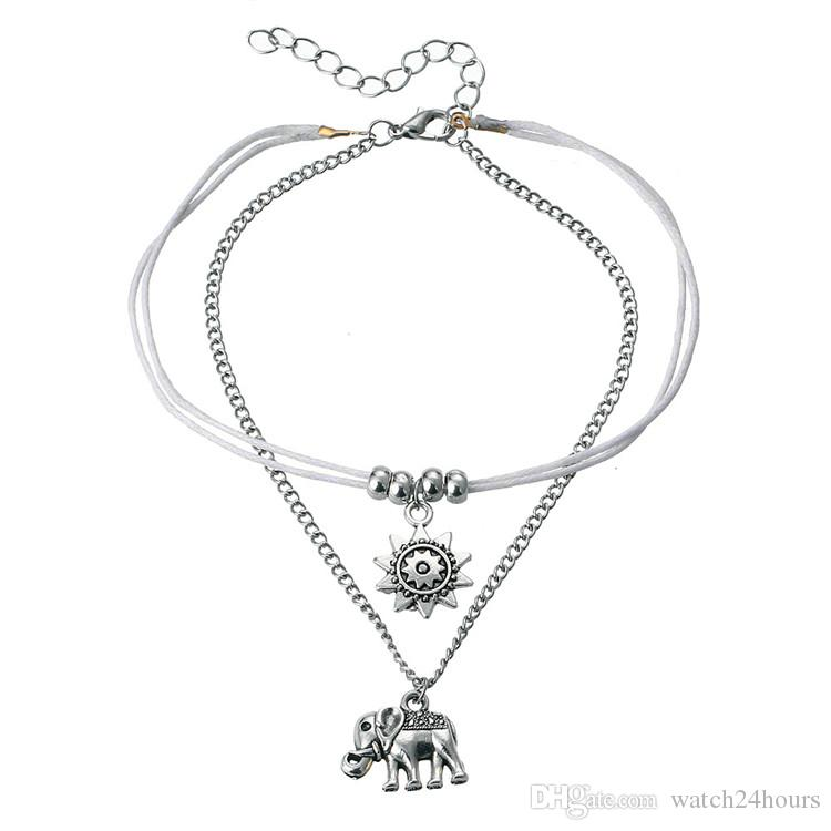 6c04778ee76 2019 Vintage Star Elephant Anklets Bracelet For Women Boho Pendent Double  Layer Anklet Bohemian Foot Jewelry Gift Factory Wholesale From  Watch24hours