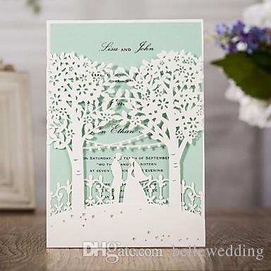 Oem corte a laser convites personalizados cartões de convite de casamento com amantes de árvores oco convites personalizados de casamento # BW-I0509