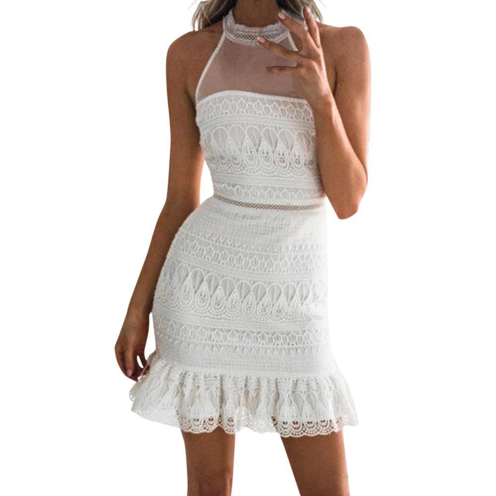 Großhandel Sexy, Figurbetontes Kleid Frauen Ärmellose Weiße Transparente Spitze  Kleider Rüschenbesatz Dame Sommer Party Kleid 2018 Von Bestshirt005, ... 65a40408cb