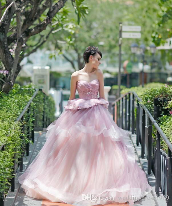 Perles Exquises Rose Printemps Robes De Mariée Sweetheart Jardin Peplum Cristal Arabie Saoudite Dubaï Africain Robes De Mariée Ball Formelle Personnalisé