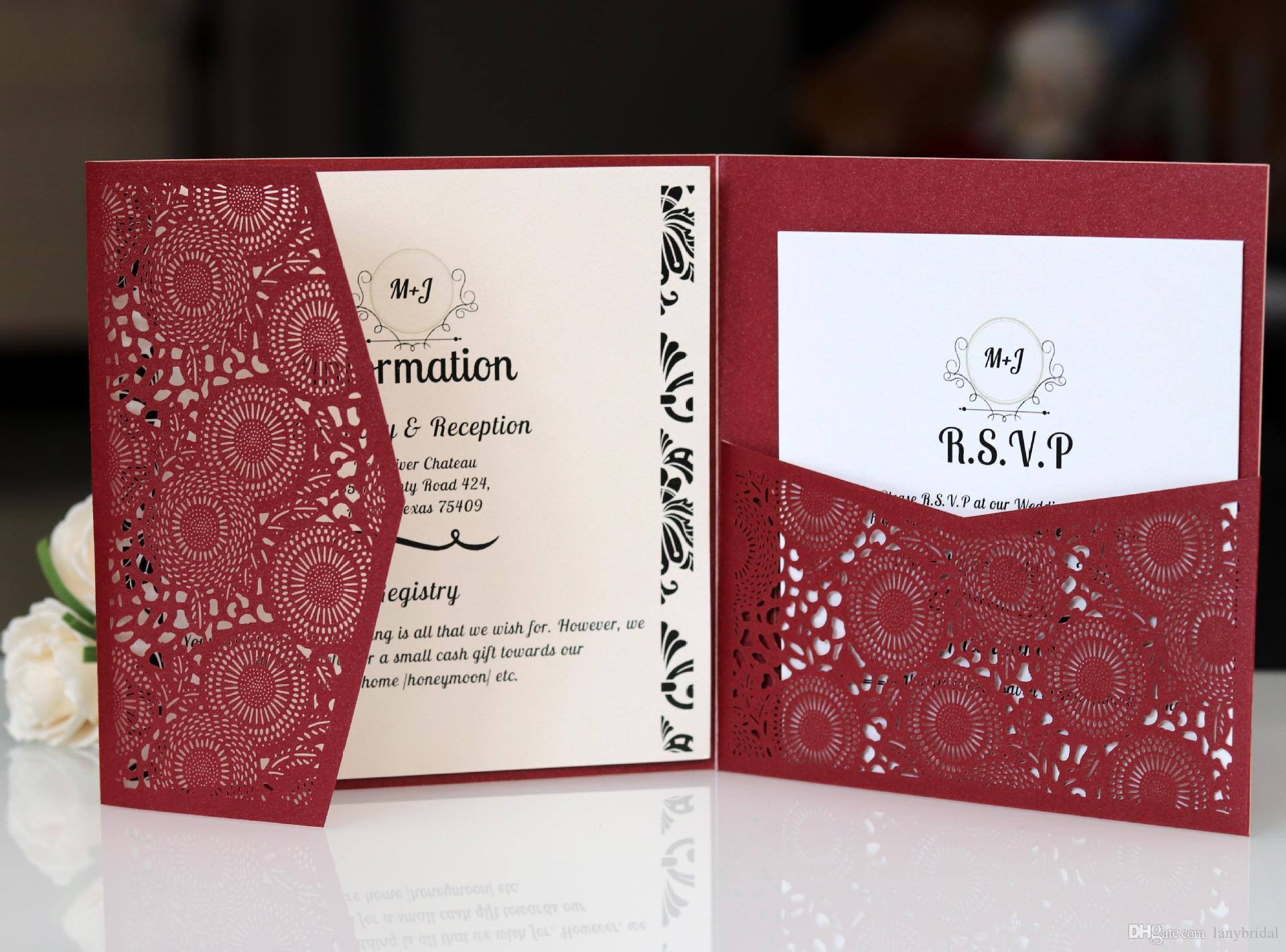 Burgundy 3 Folder Laser Cut Invitations Cards with RSVP Cards White ...