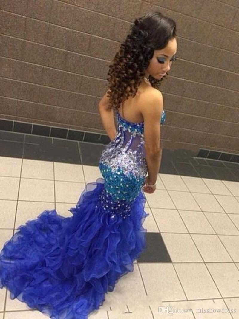 2018 Elegant Sexy Royal Blue Strapless Mermaid Prom Dresses Sparkling Rhinestone Beads Sleeveless Ruffles Evening Gowns Plus Size Vestidos