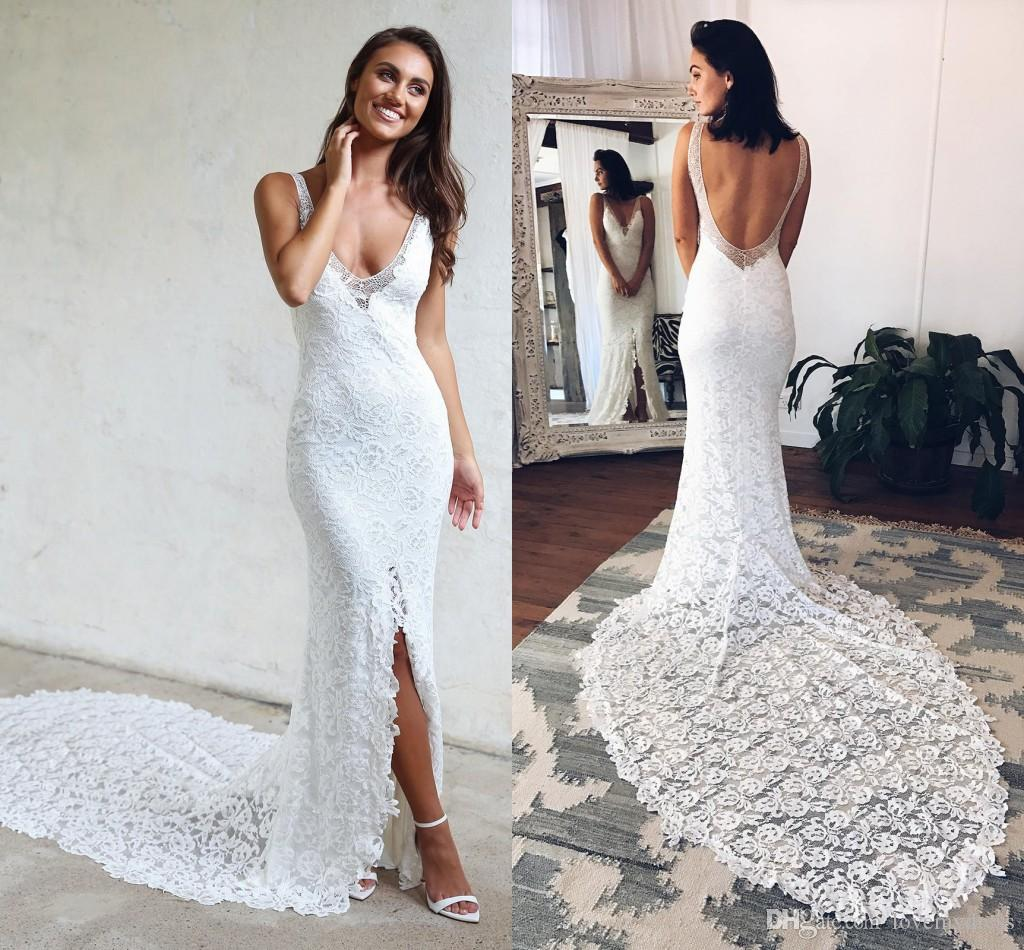 Sexy Slit Wedding Dresses For Beach Bride V Neck Open Back Lace Bodice Cheap Court Train Designer Bridal Gown Wedding Dresses 2018