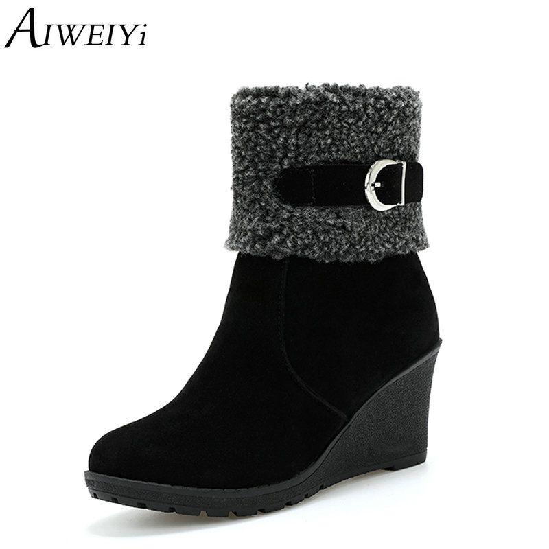 Aiweiyi Flock Acheter Wedges Pour Bottines Femmes Femme Chaussures j4AR5Lq3