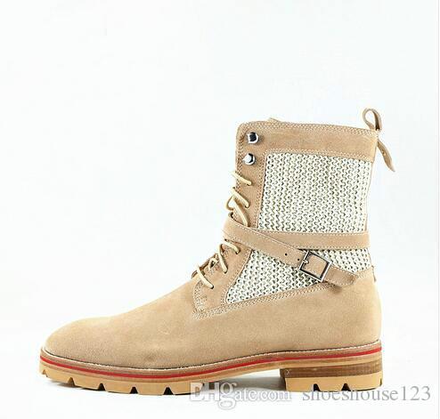 c85b11e4733 Men's Ankle Boots Cow Suede Lace-up Military Boots Khaki Anti-skid Shoes  for Men EU39-EU46