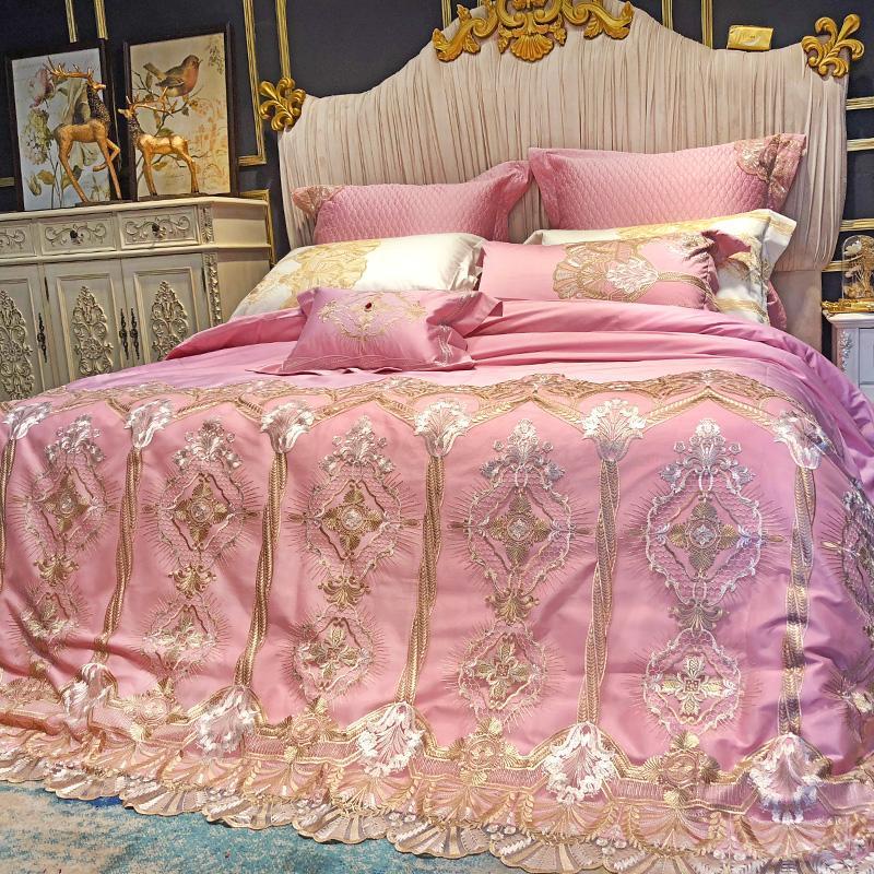 Grosshandel Luxus Rosa 120 S Agyptische Baumwolle Stickerei Royal
