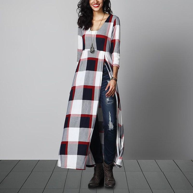 reputable site 7df39 fa89c Vestidos Plaid Check Shirt Kleid 2017 Herbst Frauen Flanell 3/4 Hülse O  Neck Party Grid Kleid Beiläufige Lose Maxi Lange Kleider