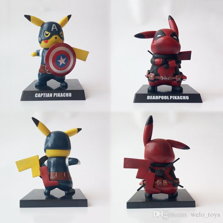 638fa1543 2019 Pikachu Cosplay Deadpool Captain America Action Figures Toys Funny  Anime Figure Collectible Pocket Model Toy 15cm Superhero Toy Xmas Gift From  ...