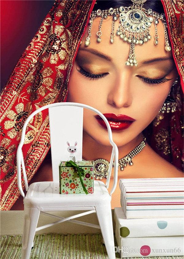 Charming Indian women Wallpaper Custom 3D Photo wallpaper Wall Mural Bedroom Makeup Shop Living room TV backdrop wall Room decor