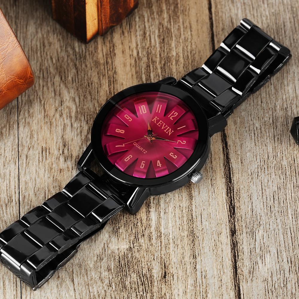 1991774dec0c Compre KEVIN Reloj De Pulsera De Cuarzo Azul   Rojo Esfera De Las Mujeres  Reloj De Los Hombres Con Negro Relojes De Acero Inoxidable Accesorios De La  ...