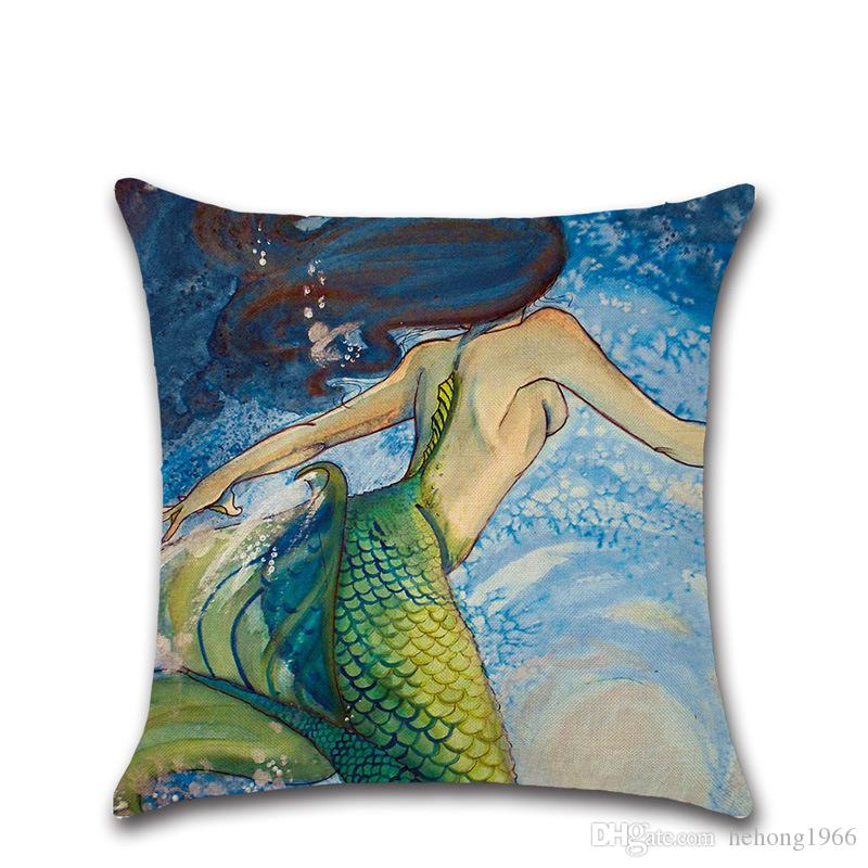Flax Fabric Watercolor Painting Pillow Case Beautiful Mermaid Design Cushion Cover Multi Color Pillowcase For Living Room Fun Decor 4 8kha Z