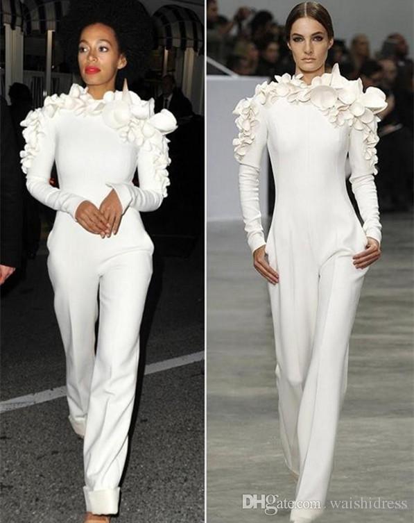 af264498257 Elegant White Jumpsuit Dresses Evening Wear With Long Sleeves 3D Floral  Appliqued Formal Party Gowns Women Suit Summer Dresses Formal Dresses From  ...