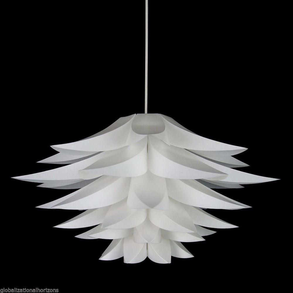 Modern Lily Flower Led Pendant Light Pvc Lotus Lamp Shape Hanging