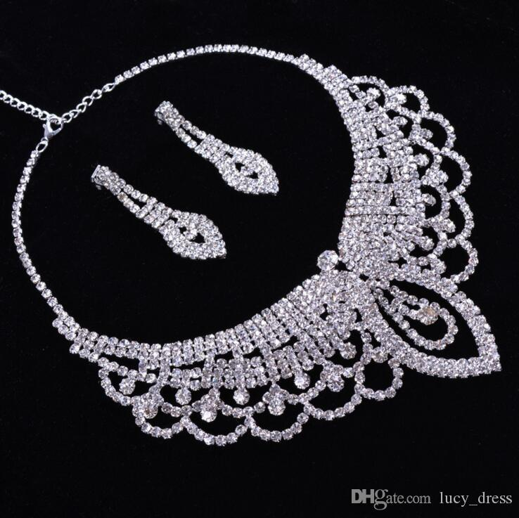 New Middle East Crystals Wedding Bride Jewelry Accessaries Set Earring + Necklace Crystal Leaves Design With Faux Pearls HKL53
