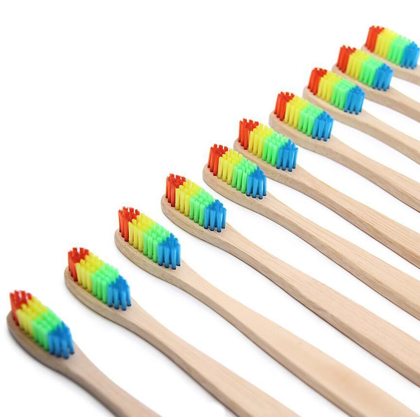 Colorful Wooden Rainbow Bamboo Toothbrush Soft Head Bristle Family Oral Care Ground Brush Your Teeth For Adults Oral Hygiene
