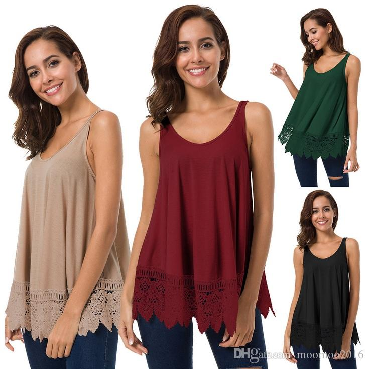 54abd07f 2019 2018 Spring Summer New Arrival T Shirt Women Fashion Sexy Large O Neck  Sleeveless Pure Blouse Tee Loose Lace Tops Women Clothes From Moomoo2016,  ...