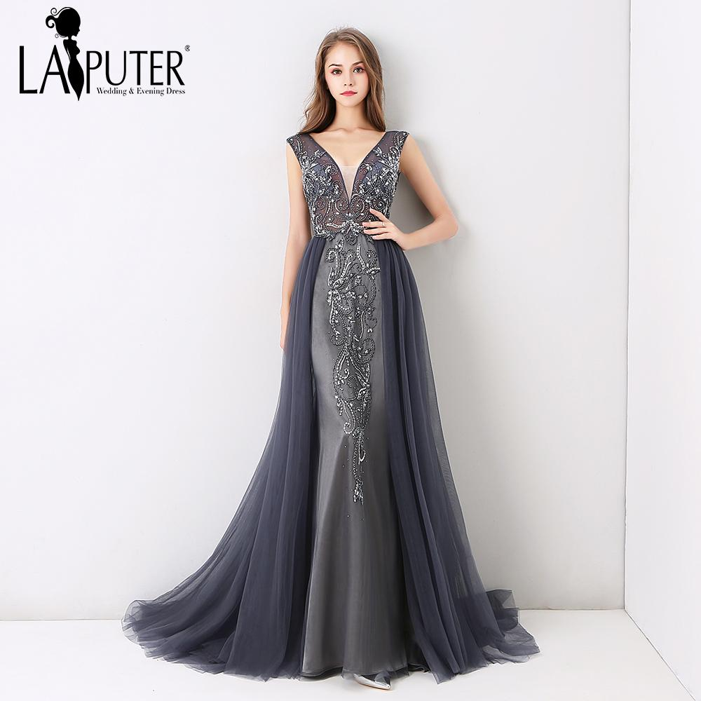 1edb037702d3 2019 Laiputer New Arrival 2018 V Neck Luxury Beading Pearls Dusty Grey  Crystal Vintage Backless Cheap Long Formal Evening Prom Dress C18111601  From ...