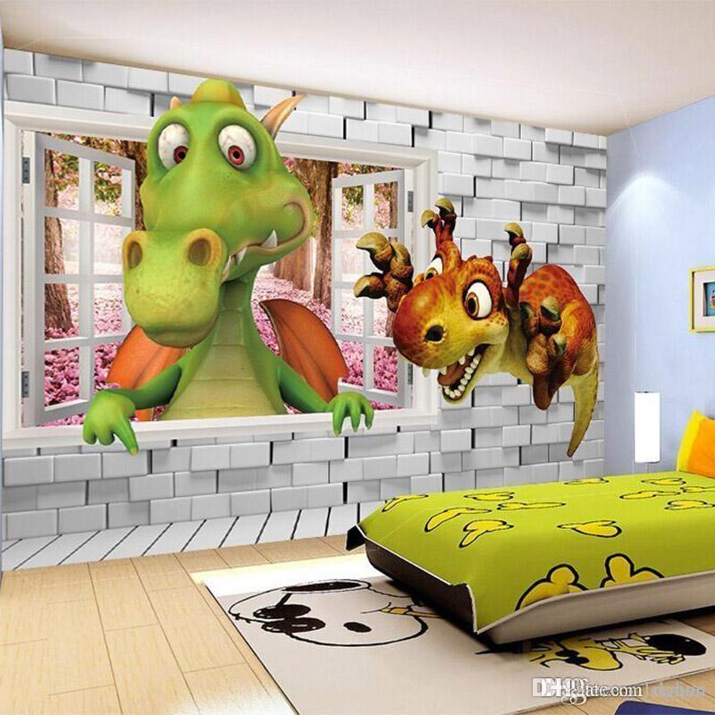 Acheter Gros 3d Stereo Dinosaure Papier Peint Murale Chambre Des