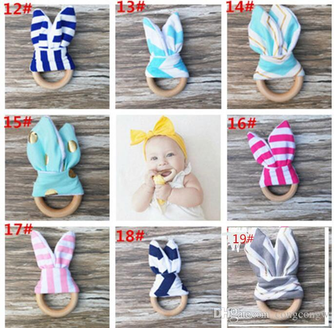 New Baby Teether Wooden Ring Baby Molars Teeth Training Toys Infants Hand Rattles Newborn Babys' Gift Exercises Toys Teeth training toy KKA1
