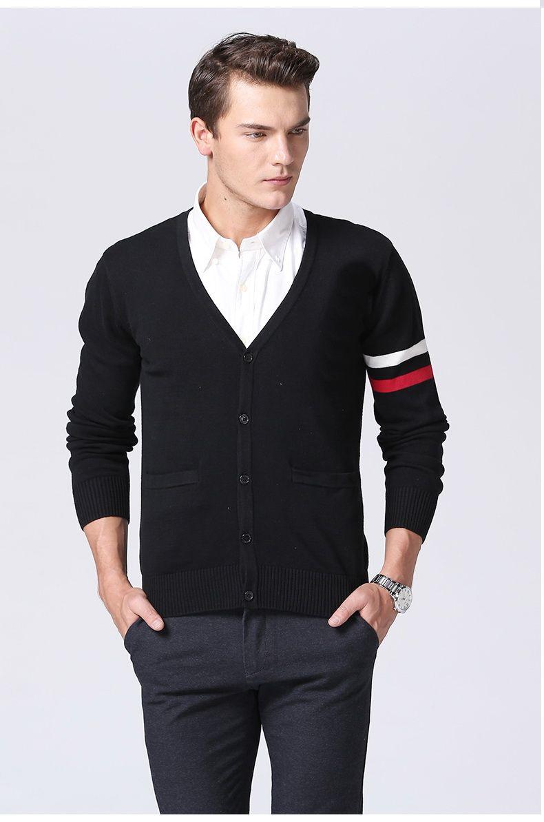 Autumn And Winter Sweater Man V - Neck Cotton Knit Cardigan Sweater ... b815ffdbf