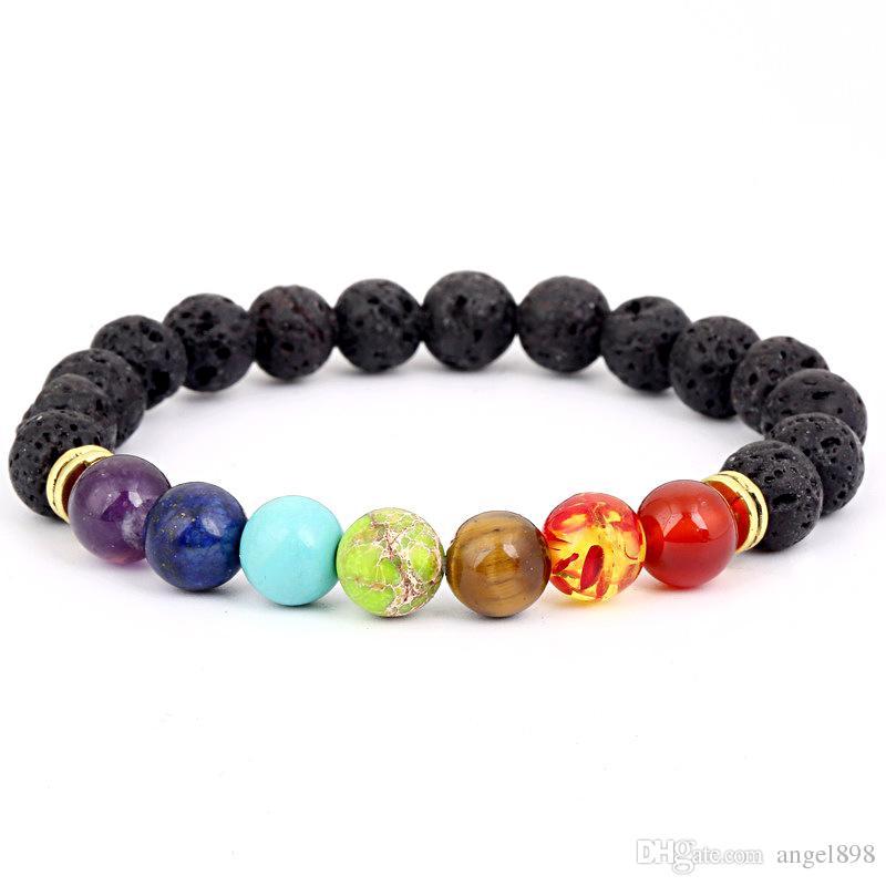 Negro de la lava volcánica piedra pulsera 7 Chakra, Yoga Natural Pulsera de piedra, Reiki Oración Equilibrio gotea la pulsera de Buda