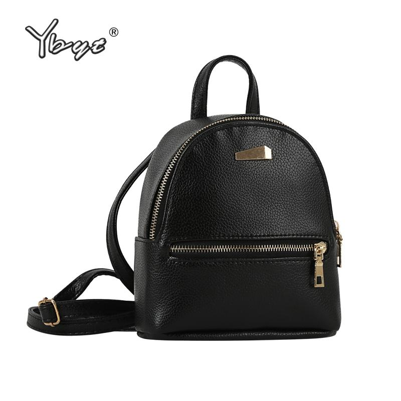7df475e8550c YBYT Brand 2018 New Small Solid Preppy Style Rucksack High Quality Women  Shopping Backpacks Ladies Famous Designer Travel Bag Black Leather Backpack  ...