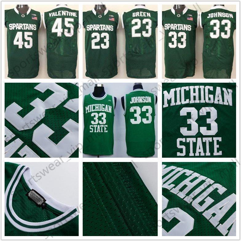 f5335682a 2019 NCAA Michigan State Spartans Jersey 33 Magic Johnson Retro 14 Gary  Harris 45 Denzel Valentine 23 Draymond Green College Basketball Jerseys  From ...