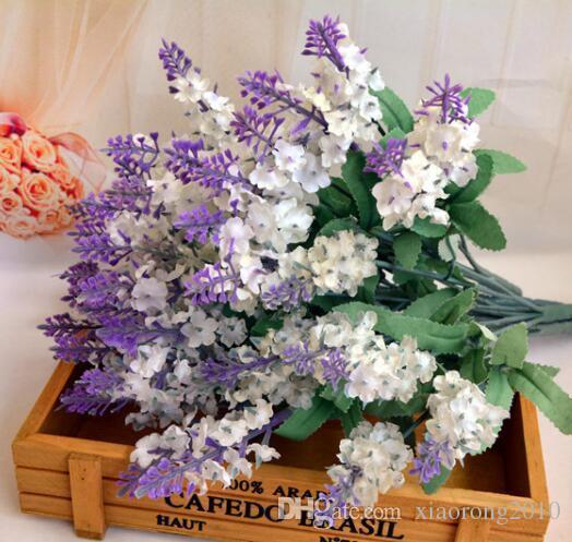 Горячий шелк лаванды букет 5 стеблей/шт 10шт лаванды Буш букет моделирование искусственный цветок сирень фиолетовый белый свадьба / Главная