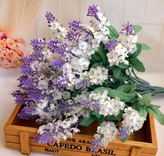 HOT 실크 라벤더 뭉치 5 줄 / 조각 라벤더 부시 꽃다발 시뮬레이션 인공 꽃 라일락 보라색 흰색 웨딩 / 홈