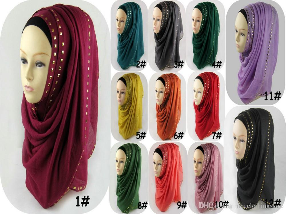 women scarves hijabs shawls oversize Women's Muslim Long Soft Hijab Rivet Islamic Scarf Cotton Shawl Head Wear Hat