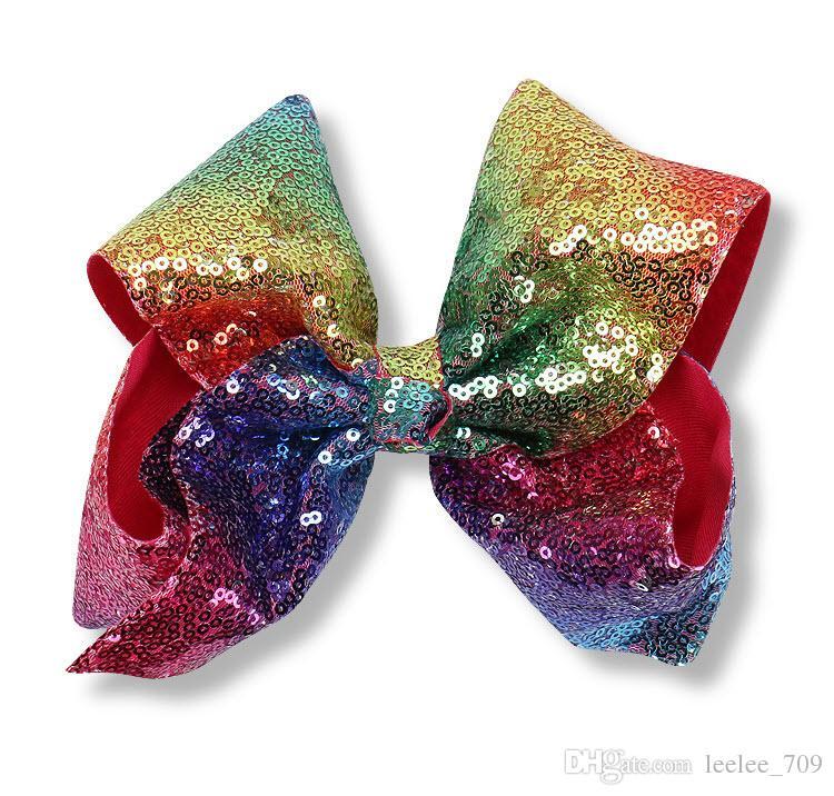HOT SALE JoJo Siwa Kids Girls Teens 8inch Large Flash material Skin Sparkle Hair Bow Dance Hair Bows Cheerleader Bow
