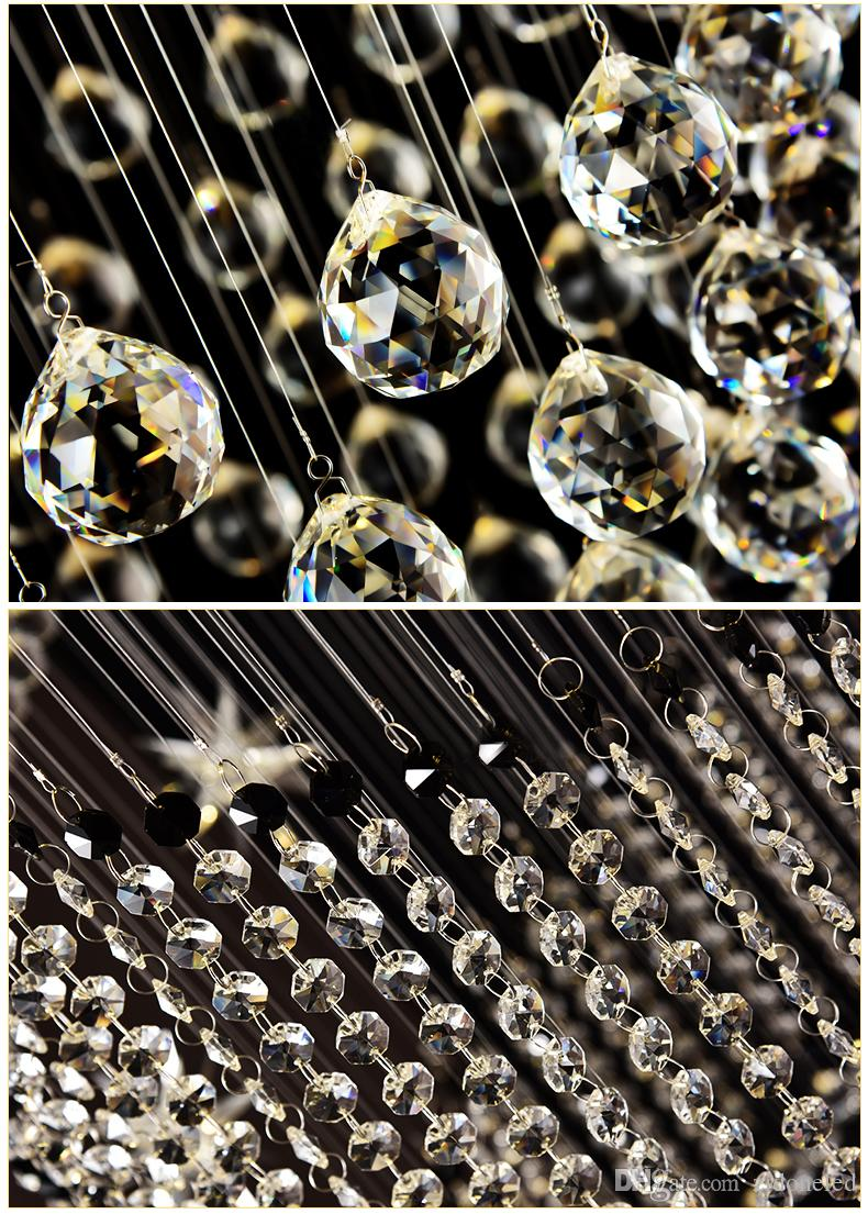 Luxury LED Spiral Crystal Chandelier Lighting Raindrop Staircase Crystal Ceiling Light Fixtures For Dining Room Indoor Lighting