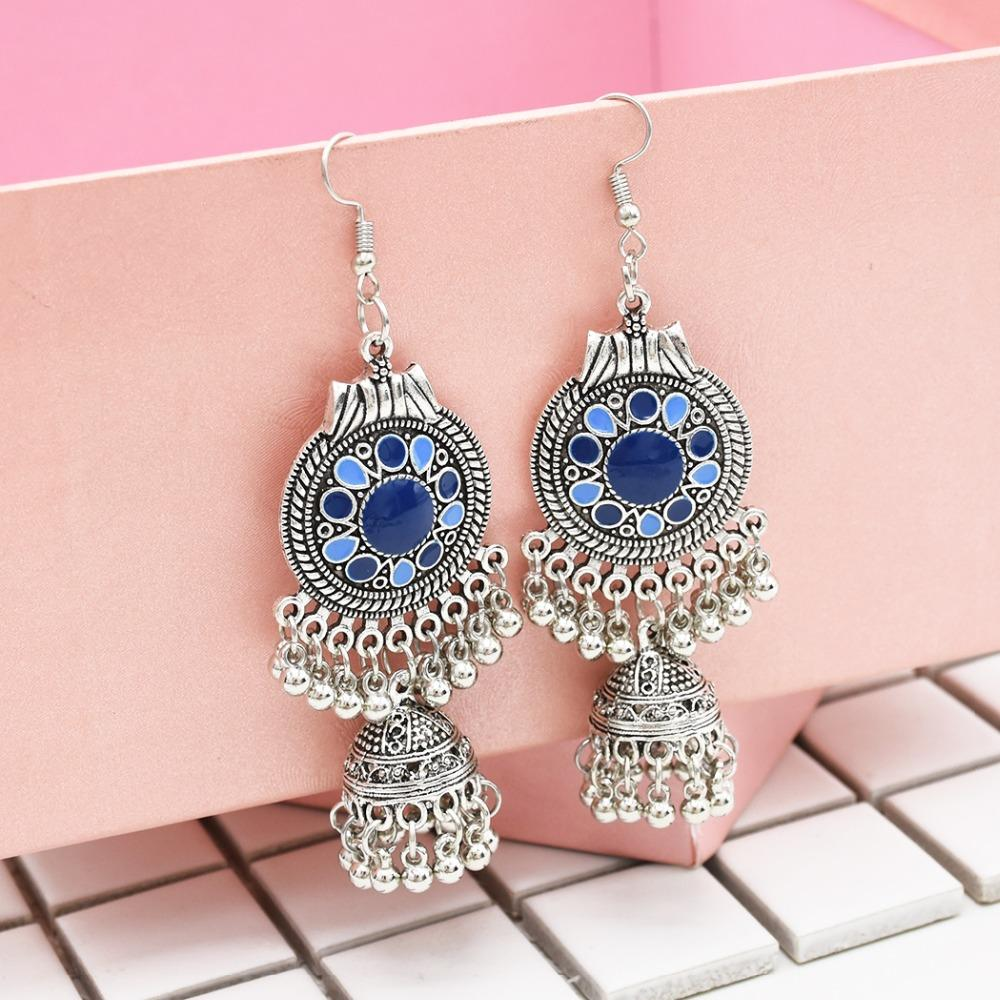 9c2e737f1 2019 Traditional Indian Ethnic Silver Metal Drop Earrings Fringe For Women  Gypsy Long Tassel Jhumka Jhumki Earring Dangle Statement From Wonderline2,  ...