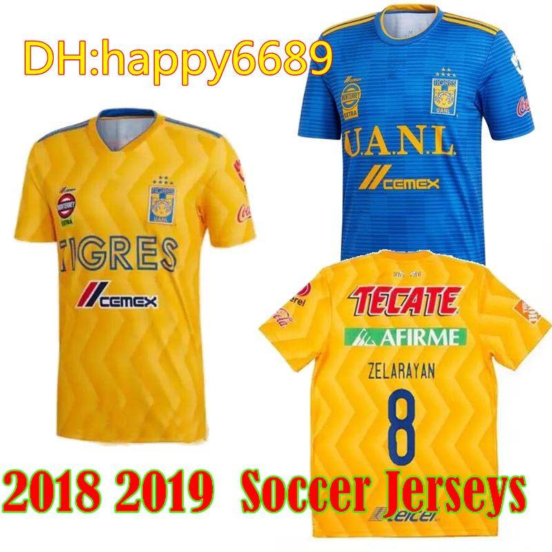 2018 2019 Tigres UANL SOCCER JERSEY 18 19 Tigres UANL GIGNAC DAMIAN VARGAS  ZELARAYAN INICIO AMARILLO CAMISETAS DE FÚTBOL Por Happy6689 c122a732e2b64