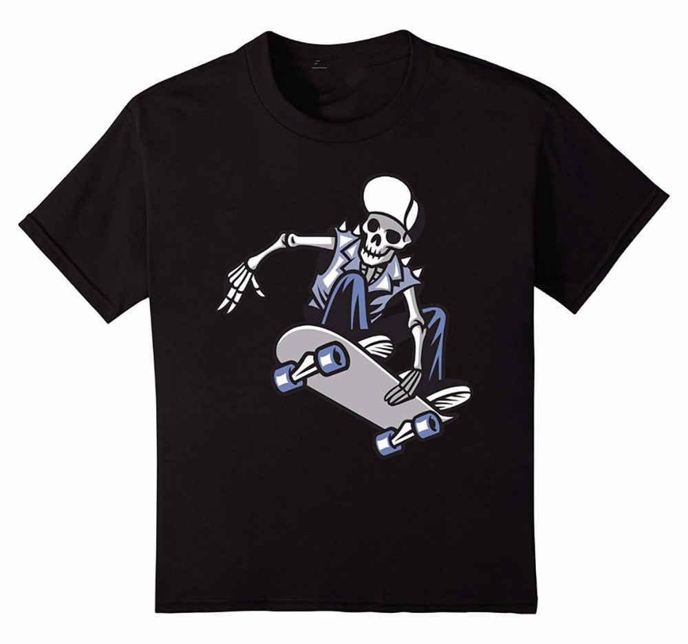 Summer Clothing Crew Neck Kull Punk Ride A Skateboard Short Design T Shirts For Men