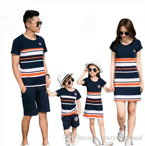 e359bc7fb355 Family Matching Outfits 2018 Summer Fashion Striped T Shirt Outfits Mother  And Daughter Dresses And Father Son Baby Boy Girl Clothes Mother And Baby  ...
