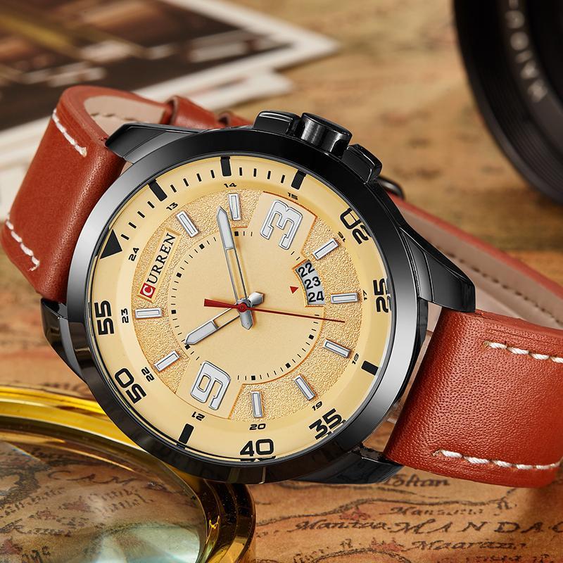 401e2fe9c81 Compre Novos Relógios Homens De Luxo Top Marca CURREN Moda Masculina Big  Dial Designer De Relógio De Quartzo Relógio De Pulso Masculino Relogio  Masculino ...