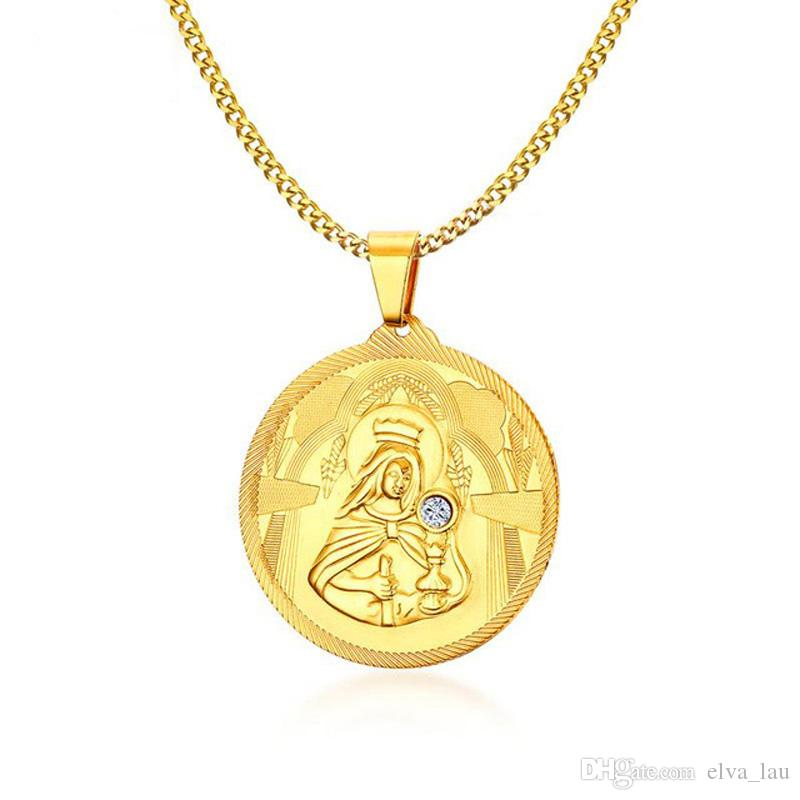 6bb0e09ea72 Wholesale 45MM Mother Of God Virgin Mary Necklace Pendant Christian Jewelry  Gold Plated Stainless Steel Pendant Necklaces For Men With Rhinestone Black  ...