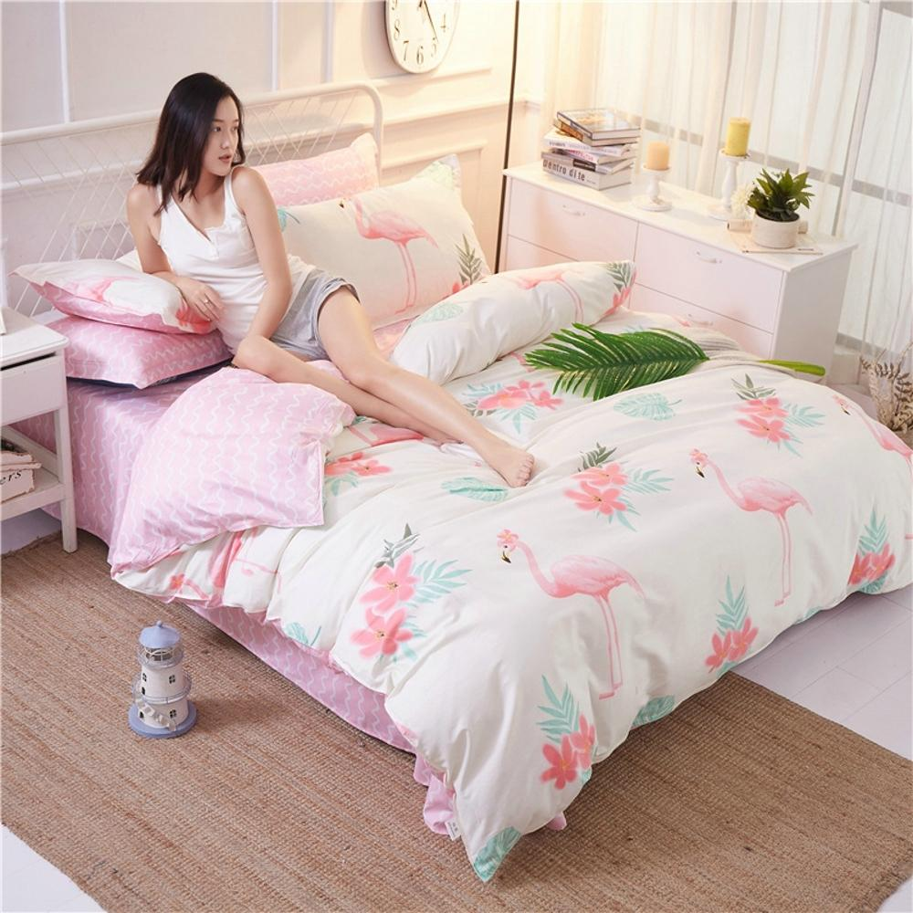 Flamingo Animal Duvet Comforter Cover Pillowcase Sheets Set Floral
