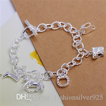 Wholesale  -   - 小売価格クリスマスギフト925シルバーハンギング馬バングルホースシューブレスレット幾何学模様銀チェーンブレスレットH074