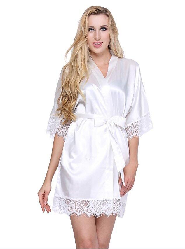 782552f71 2019 Sexy Wedding Dressing Gown Women Short Satin Bride Robe Lace Silk  Kimono Bathrobe Summer Bridesmaid Nightwear Plus Size Peignoir From  Sweet59