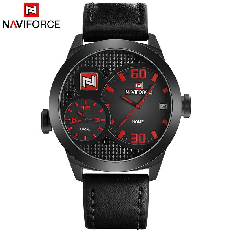 2b7a0df762a Compre NAVIFORCE Top China Marca Men Sport Watch Dual Time Relógios De  Quartzo Pulseira De Couro 30 M À Prova D  Água Calendário Relógio Relogio  Masculino ...
