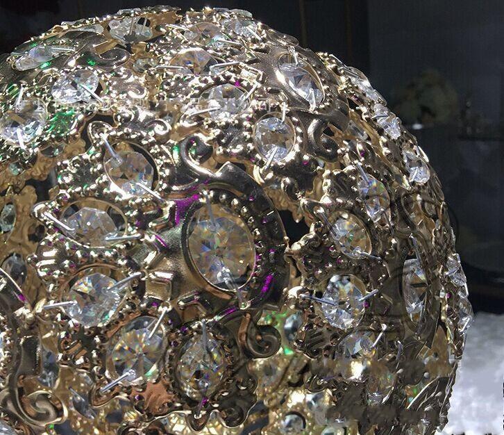 H27in Globe stand de mariage Event table haut centres de table ARGENT ou OR, Bougeoir en métal cristal