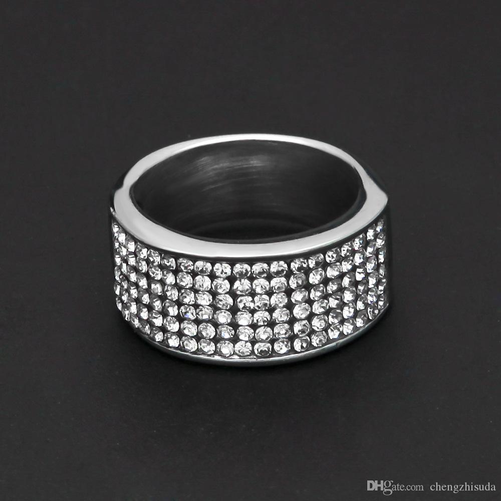 Men Stainless Steel Round Punk Hiphop Rings Men With Clear Iced Out Rhinestone Ring Party Jewelry Gold Silver Color 10MM Wide