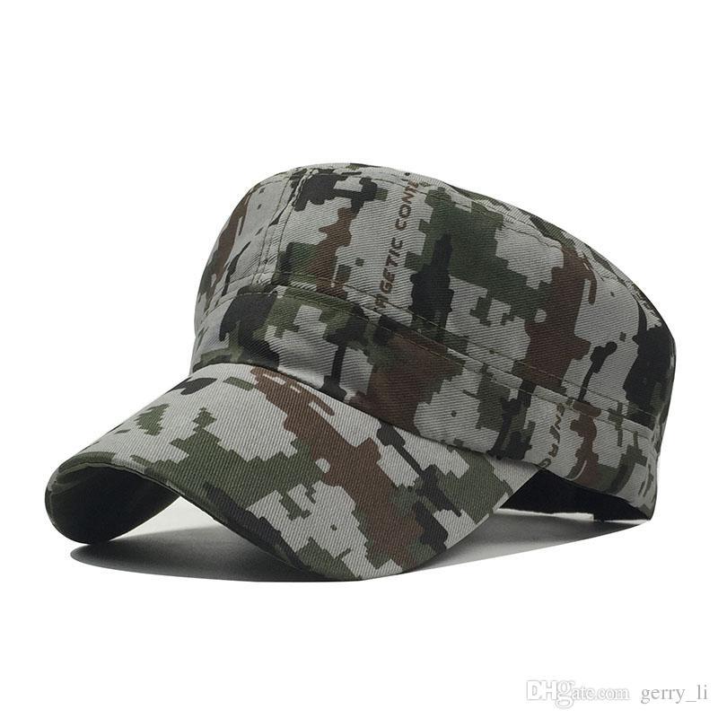 701e8eea4 Adult Cotton Chapeau Adjustable Cadet Style Ultra Thin Breathe Flat Top  Military Cap Camouflage Hats Men Women Summer Military Hats