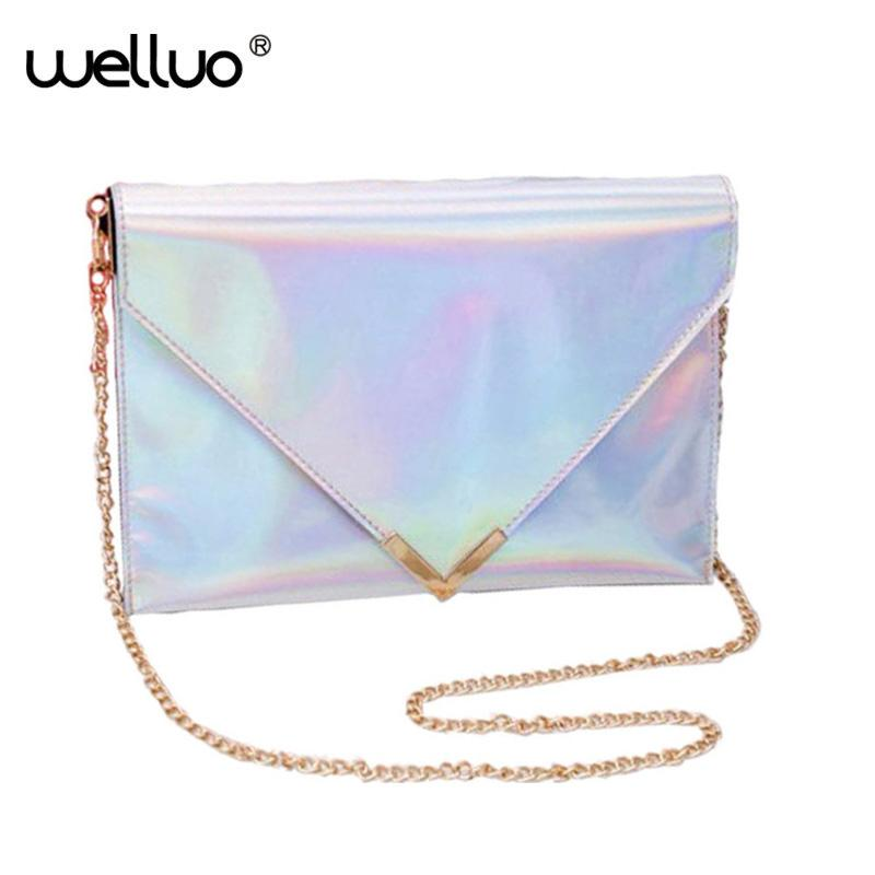 98c2d22255 2017 Women Laser Leather Handbags Day Clutches Hologram Silver Envelope  Evening Clutch Mini Chain Flap Bags Shoulder Bag XA1264B