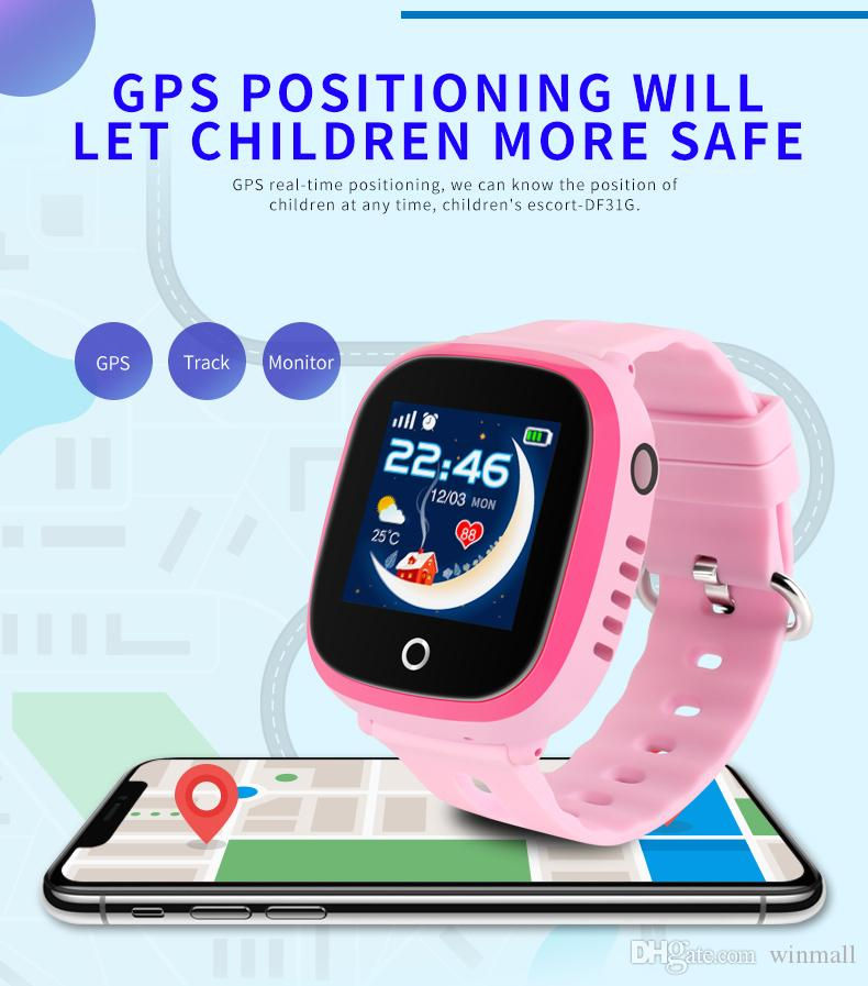 Best Quality DF31G Kids Smart Watch IP67 Waterproof GPS Real Time Positioning with Camera Touch Screen SOS Cell Phone Children Monitor