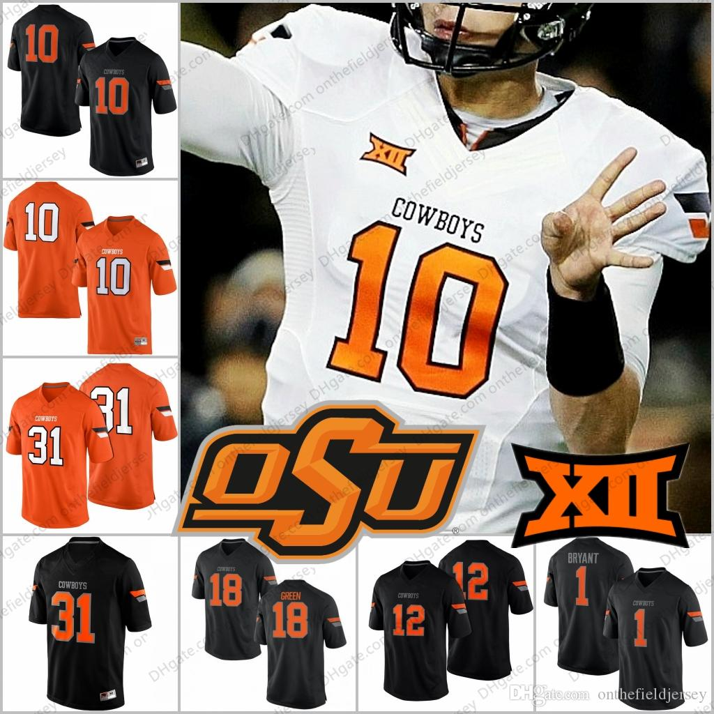 1763fd23752 2019 Oklahoma State Cowboys NCAA #10 Tyrell Alexander 31 Tre Flowers 12  Ryan Sherry 12 Kirk Tucker White Orange Black College Football Jerseys From  ...